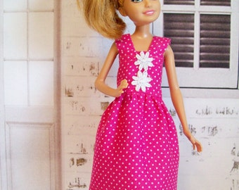 Handmade Stacie doll dress, Bratz doll dress - Hot pink polka dot fashion doll dress