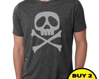 New Skull Harlock misfits t-shirt motorcycle cafe racer vintage style