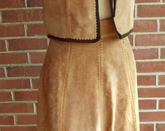 Vintage Leather Skirt and Vest Suit