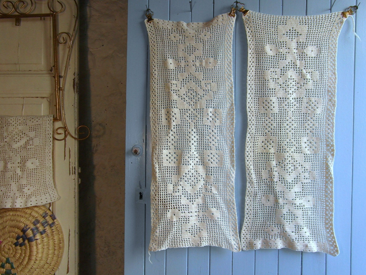 Pair Of Cream Crochet Lace Cafe Curtains Window Curtains