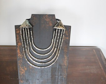 Metal Layered Bib Necklace - Tibetan Beads - Classic Statement Jewelry Short Choker Chunky - Hammered Metallic