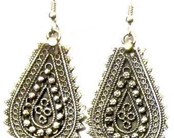 Earrings .925 Sterling Silver Sari Filigree Girls Teens Women Boho Hippie