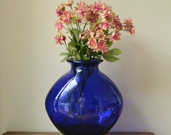 Large Royal Blue Glass Vase