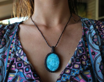 Macrame Necklace, Turquoise Necklace, Bohemian Necklace, Hippie Necklace, Boho Necklace, Healing Crystal, Crystal Pendant, Birthday gift