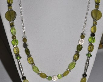 Silver Necklace Double Strand Green Glass #493