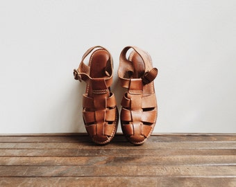 "Leather Cole Haan ""Fishermen"" Sandals / Size 7 / Brown Leather Sandals / Tan Leather Sandals / Leather Sandals"
