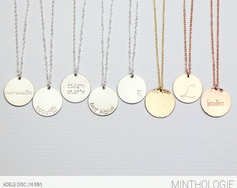 Personalized Disc Necklace N210 • custom hand stamped, circle necklace, disk, round tag, initial, name necklace, bridesmaids gift
