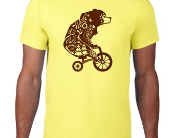 Bear On A Bicycle TShirt, Funny Tshirt, Bear TShirt, Animal Riding Bicycle, Bear T Shirt, Ringspun Cotton, Funny T Shirt, Mens Plus Size