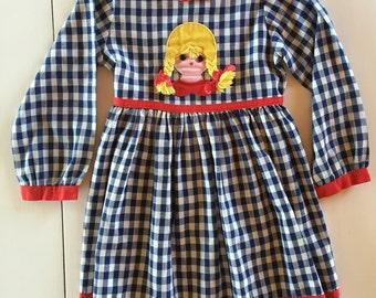 Hopscotch Dress  / Vintage 1970s Girls Gingham Dress