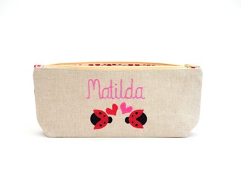 Personalised Pencil Case // Ladybird Pencil Case // Lovebug // Personalised Gift // Stocking Filler