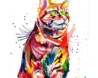 Colorful Tabby Cat Art Print - Print of my Original Watercolor Painting