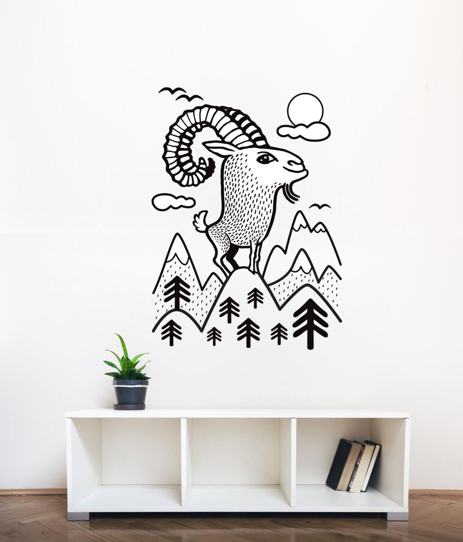 Sticker mural ch vre de montagne autocollant mural animaux for Autocollant mural francais