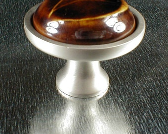 Cabinet knobs in translucent brown glaze, cabinet hardware