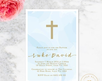 Boy Baptism Invitation Printable / Boy Christening Invite / Cross