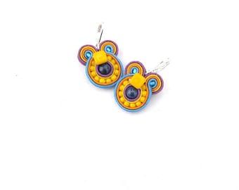 Colorful soutache earrings, beaded dangle earrings, small round earrings, handmade earrings from Poland, yellow earrings purple