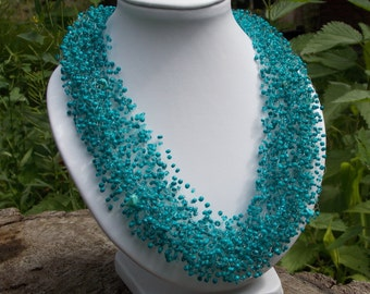 Homemade gift Birthday gifts women gift idea for her teal jewelry Dark turquoise necklace Boho style necklace Blue choker Turquoise jewelry