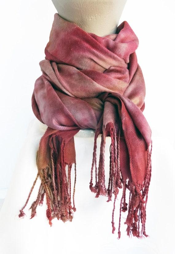 """Burgundy winter scarf - warm scarf - rayon challis twill - burgundy, marsala, fuchsia, taupe, gold, grey - fall earth tones - 27"""" x 64"""""""