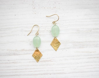 Hammered Brass Chalcedon Seafoam Earrings