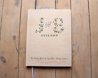 "Floral Wedding Guest Book - Custom Initials Rustic Wedding Guestbook - Monogram Bohemian Guestbook - Personalized Guestbook - 8"" x 10"" - Ivy"