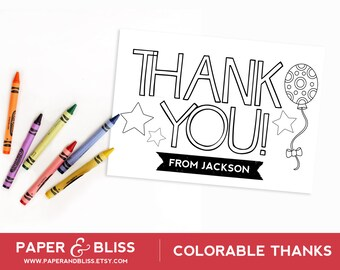 Colorable Thank You Card - Balloons - Customizable