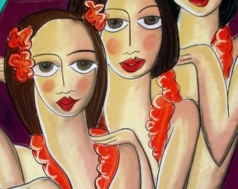 Hula girls- Limited Edition Digital Print - by Aussie Artist Samantha Thompson