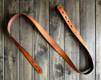 Leather Guitar Strap - Handmade Thin Strap - Custom Instrument Strap - Personalized Music Strap - Acoustic, Electric, Dobro, Folk