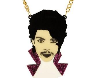 Prince Necklace, Purple Rain, Statement Glitter, Portrait , Laser Cut Acrylic, Engraved Perspex Necklace, Laser Cut Statement Necklace,