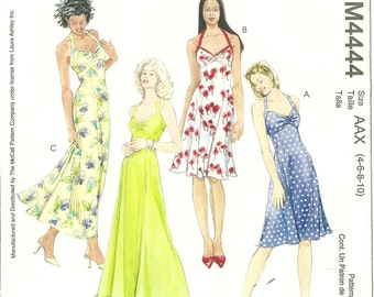 McCall's 4444 Pattern - Misses/Miss Petite Dress - Classic Halter Dress - Laura Ashley - Size 4, 6, 8, 10 - Easy to Make - Summer Dress -