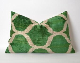 Handmade ikat silk velvet Pillow Cover 16x24 Green Velvet Pillow Green White Pillow