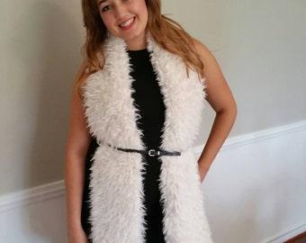 Ivory Faux Llama Fur Scarf Boho, Western, Rustic, Winter Scarf, Gift Idea