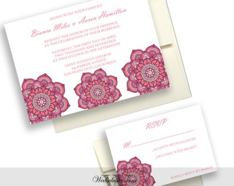 Pink Lotus Wedding Invitations, Unique Wedding Invites - Unique, Elegant, Modern - DEPOSIT