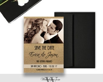 Photo Save the Dates, Gold Glitter, Black and Gold Wedding Announcements - PRINTABLE - Download