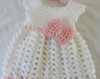 Newborn Baby Girl Dress & Headband Set ( Made to Order) Infant Dress, White Baby Dress, Baby Dress With Headband Baby Gift Set, Crochet Baby