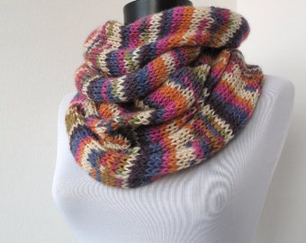 20% OFF SALE - Colorful Circle scarf  - loop scarf - infinity scarf - neck warmer - hand knitted    900