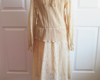 60's/70's Cream Lace Collared Dress Long Sleeved