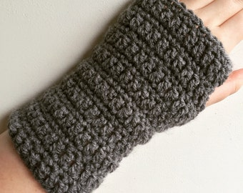 Handmade Fingerless Gloves, Grey Fingerless Gloves, Grey Gloves