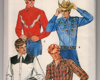 1980s Uncut Butterick 4181 Men's Semi-Fitted Country Western Shirt And Embroidery Transfer - Chest 48 Neck 17.5 - Vintage Sewing Pattern