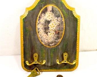 Key holder wooden key holder key board key hooks organizer vintage key hook holder wall key rack holder hook holder rustic garden