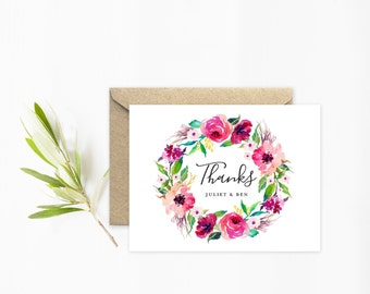 Wedding Thank You Cards, Watercolor Wedding Stationery, Boho Flower Wreath