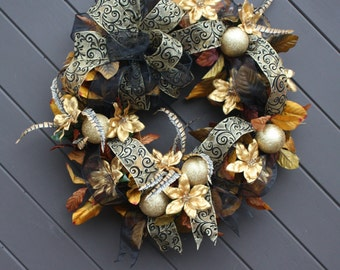 Christmas Wreath, Ready to Ship , Black and Gold, Door Wreath, Holiday Wreath, Luxury Holiday, Poinsettias Wreath, Gold Christmas Wreath