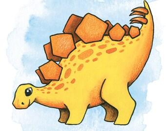 Dinosaur / Stegosaurus Watercolor Illustration Print -  Art Gift - Nursery / Children Wall Art
