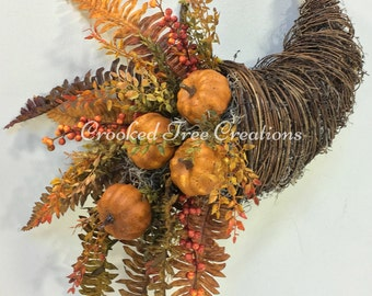 Fall Wreath, Autumn Wreath, Cornucopia Wreath, Thanksgiving Wreath, Pumpkin Wreath, Harvest Wreath, Fall Wreaths, Horn Of Plenty, Fall
