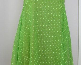 SALE - 1960's lime green dotted swiss trapeze dress  sz small - medium