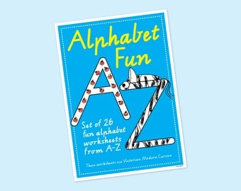 Alphabet Worksheets, Alphabet Fun, Writing Worksheets, Teacher's Resource, ABC, Instant Download