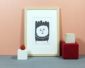 Treefriend | Linoldruck, Linolschnitt, Grafik, Druck, Print, Original, handgemacht, Poster, Linoleum, Lino, limitiert, signiert, schwarz, A5