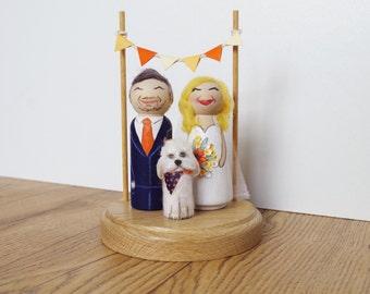 Cute Kitsch Custom Vintage Shabby Personalised Wooden Peg Doll Wedding Cake Topper Pet Child option