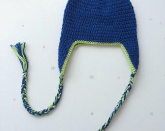 Blue Boys Beanie - Ear Flap Blue Green 3 4 5 Years Preschooler Winter Hat
