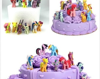 CAKE TOPPER - 12 pcs My Little Pony Rainbow Dash Princess Celestia Cadance 12 Figure Set Birthday Party Cupcakes Figurines