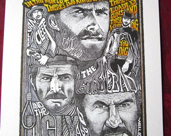 The Good The Bad & the Ugly Clint Eastwood Art Print by Posterography