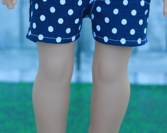 18 Inch Girl Doll Clothes   Blue White Dot Woven SHORTS for dolls such as American Girl Doll